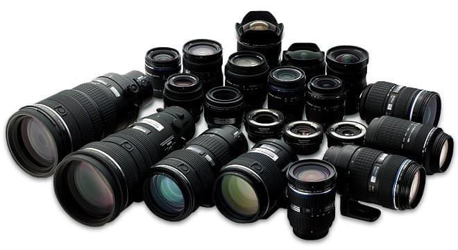 multitude d'objectifs pour appareil photo reflex