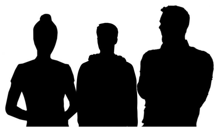 portrait buste trois personnes silhouette
