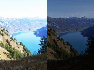 photos surexposée et sous-exposée du Lac de Brienz depuis la ranadonée de l'Hardergrat dans la région d'Interlaken en Suisse