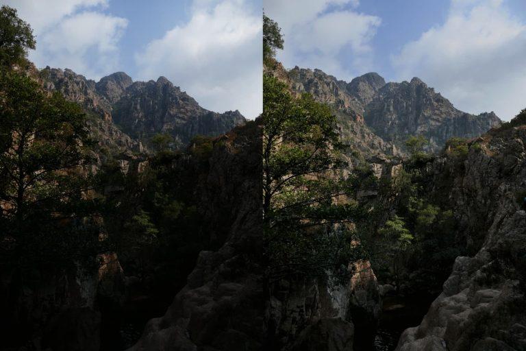 c'est quoi l'HDR comparaison entre une photo HDR et normale prises près de la rivière de Baracci